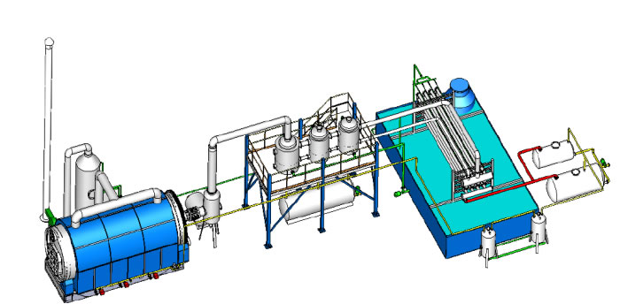 Fully automatic waste plastic pyrolysis machine to diesel oil refine